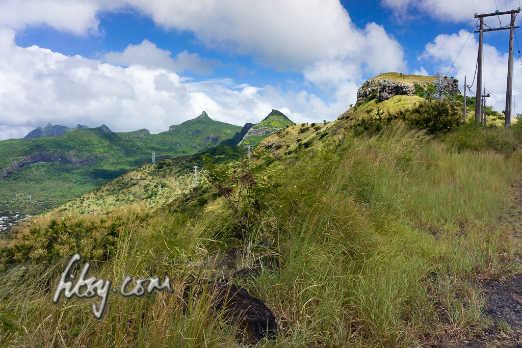 View towards the summit of Quoin Bluff peak, Port Louis, Mauritius